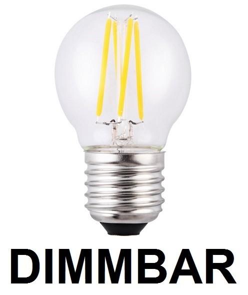 4 Watt Faden Filament LED Lampe, Birne klein, E27, Lichtfarbe warmweiß 2700 K, Klarglas, dimmbar