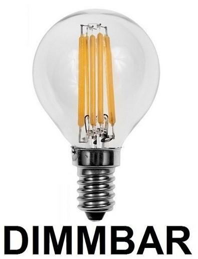 6 Watt Faden Filament LED Lampe, Birne, E14, Lichtfarbe warmweiß 2700 K, Klarglas, dimmbar