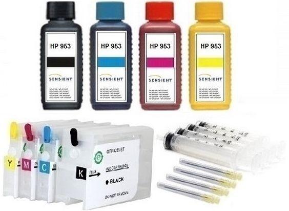 Wiederbefüllbare QUICKFILL-FILL-IN Patronen HP 950 & 951 XL + 4 x 100 ml SENSIENT Tinten