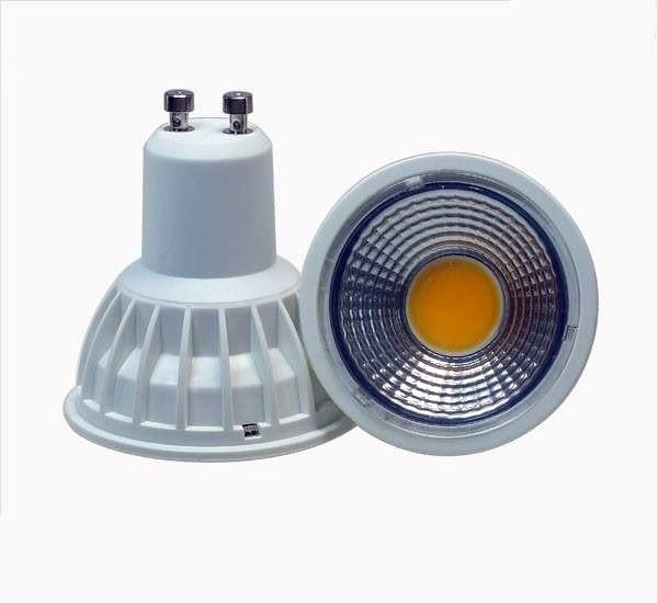 5 Watt COB LED-Spot GU10 Weiß, Lichtfarbe warmweiß 2700 K - 90° Ausstrahlung