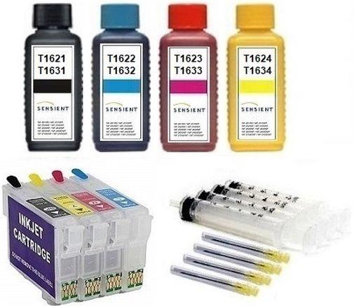 Wiederbefüllbare QUICKFILL-FILL-IN Patronen wie Epson T1631-T1634, T16 XL + 400 ml SENSIENT Tinten