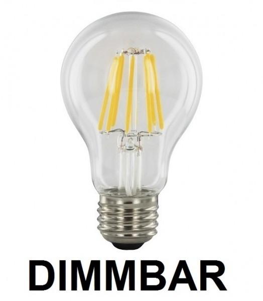 6 Watt Faden Filament LED Lampe, Birne, E27, Lichtfarbe warmweiß 2700 K, Klarglas, dimmbar