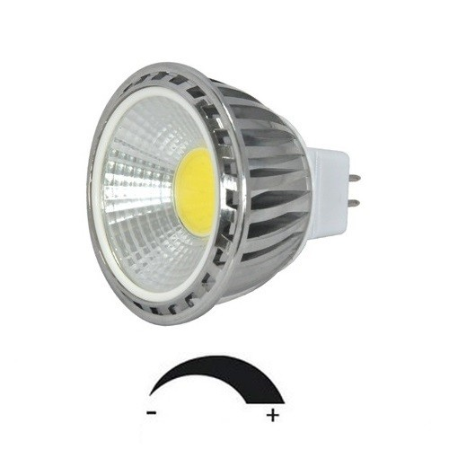 5 Watt COB LED-Spot Alu, MR16 GU5.3 12V, dimmbar, Lichtfarbe warmweiß 2700 K, 90° Ausstrahlung