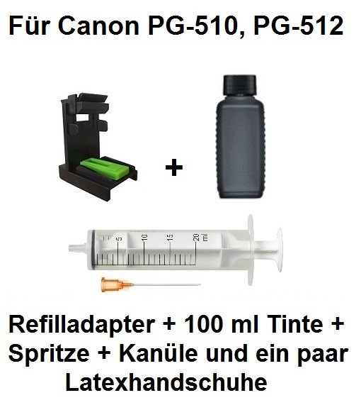 Befülladapter + 100 ml INK-MATE Nachfüll-Tinte black für Canon PG-510 und PG-512