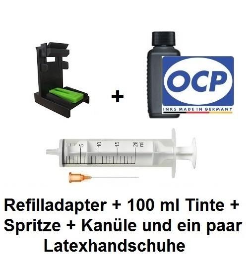 Befülladapter + 100 ml OCP Nachfüll-Tinte BKP 89 schwarz für HP 901 black (XL)