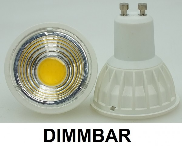 5 Watt COB LED-Spot, GU10, Lichtfarbe warmweiß 2700 K, dimmbar - 90° Ausstrahlung
