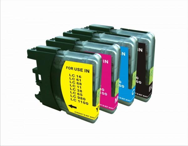 Druckerpatronen Set wie Brother LC-980, LC-1100 HY (XL) black, cyan, magenta, yellow