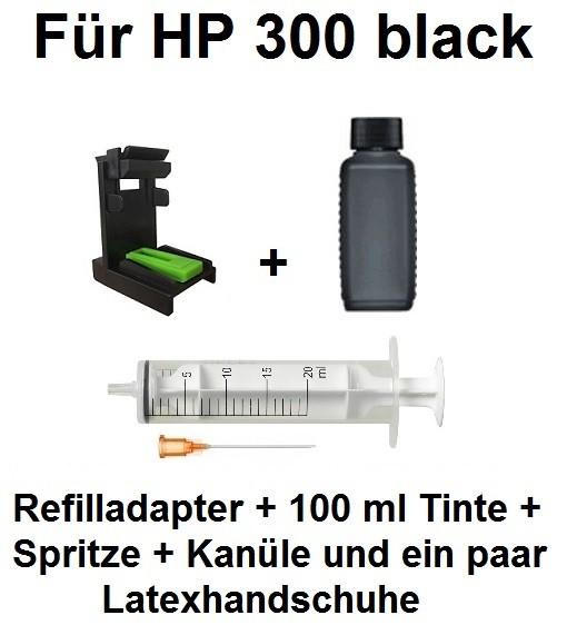 Befülladapter + 100 ml INK-MATE Nachfüll-Tinte schwarz für HP 300 black (XL)