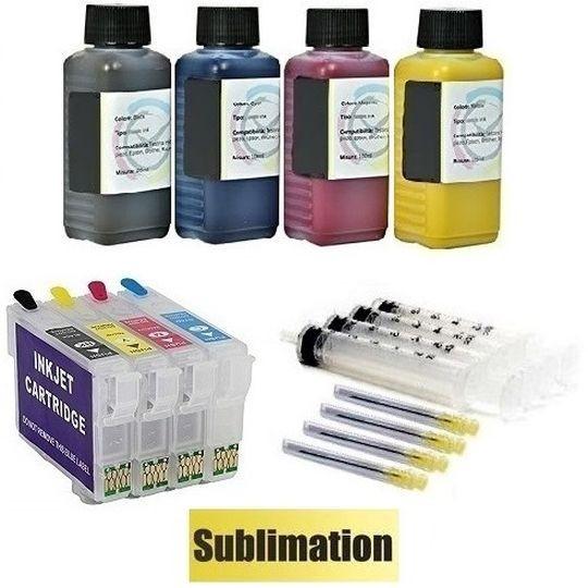 Wiederbefüllbare Tintenpatronen wie Epson T1281-T1284 + 400 ml Dye-Sublimationstinten