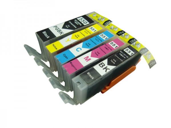 Druckerpatronen Set wie Canon PGI-550 XL & CLI-551 XL black, cyan, magenta, yellow - 5 Patronen