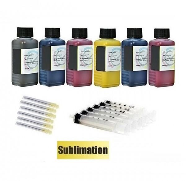 6 x 100 ml Dye Sublimationstinte black, cyan, magenta, yellow, light-cyan, light-magenta für Epson