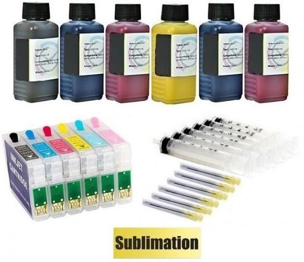 Wiederbefüllbare QUICKFILL-FILL-IN Patronen wie Epson T0801-T0806 + 600 ml Dye-Sublimationstinten
