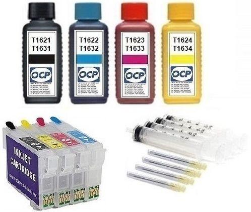 Wiederbefüllbare QUICKFILL-FILL-IN Patronen wie Epson T1631-T1634, T16 XL + 400 ml OCP Tinten